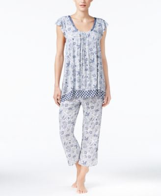 Ellen Tracy Mixed-Print Top and Cropped Pajama Pants Sleep Separates