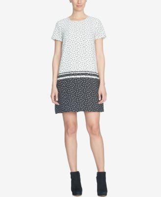 CeCe Printed Short-Sleeve Shift Dress
