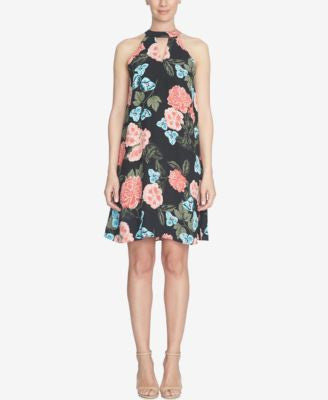 CeCe Floral-Print Halter Shift Dress