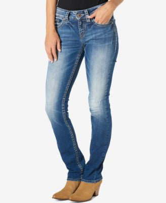 Silver Jeans Suki Medium Blue Wash Straight-Leg Jeans