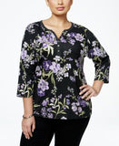 Karen Scott Plus Size Printed Henley Top, Only at Vogily