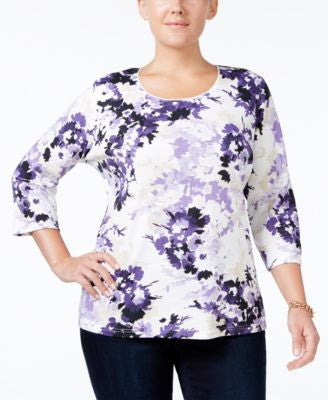 Karen Scott Plus Size Printed Scoop-Neck Top, Only at Vogily