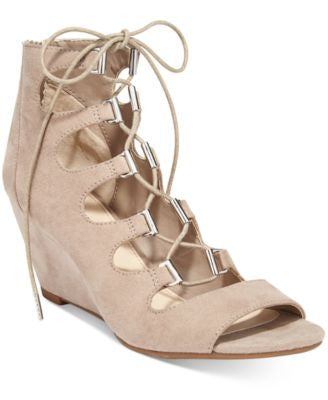 Bar III Kerry Lace-Up Wedge Dress Sandals, Only at Vogily