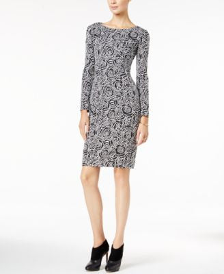 Betsey Johnson Long-Sleeve Floral-Print Knit Sheath Dress