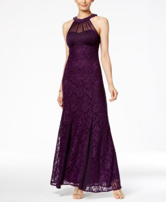 Nightway Metallic Lace Halter Gown
