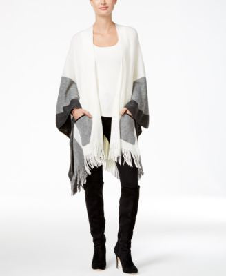 Cejon Colorblock Pockets Poncho