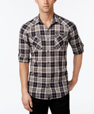 INC International Concepts Men's Knight Plaid Long-Sleeve Shirt, Only at Vogily