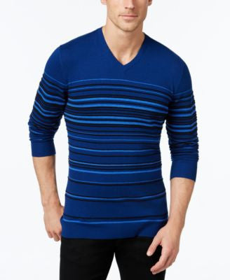 Alfani Men's Striped V-Neck Sweater, Only at Vogily