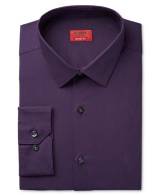 Alfani Spectrum Men's Slim-Fit Provence Purple Dress Shirt, Only at Vogily