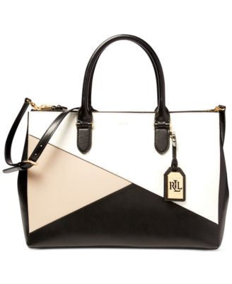 Lauren Ralph Lauren Geo Block Double Zip Satchel