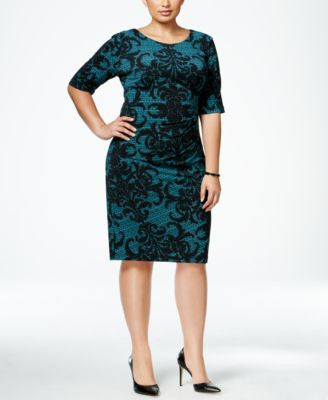 Connected Plus Size Printed Draped Sheath Dress