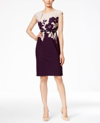 Connected Petite Belted Cap-Sleeve Sheath Dress