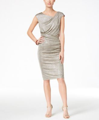 Connected Petite Metallic Draped Sheath Dress
