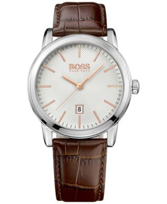 BOSS Hugo Boss Men's Classic 1 Brown Leather Strap Watch 40mm 1513399