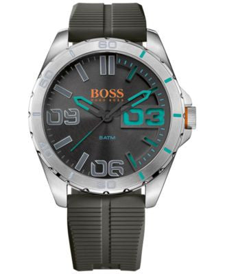 BOSS Orange Men's Berlin Gray Rubber Strap Watch 48mm 1513380
