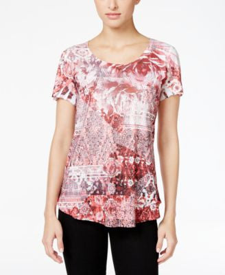 Style & Co. Printed Studded T-Shirt, Only at Vogily