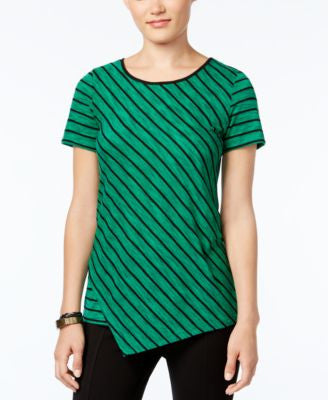 G.H. Bass & Co. Striped Asymmetrical-Hem Top