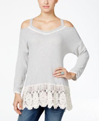 Style & Co. Crochet-Trim Cold-Shoulder Top, Only at Vogily