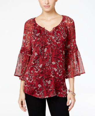 Style & Co. Printed Peasant Blouse, Only at Vogily