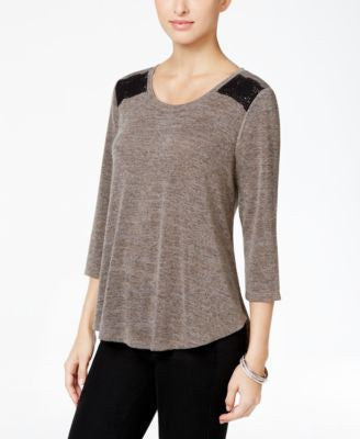 Style & Co. Crochet-Trim High-Low Top, Only at Vogily