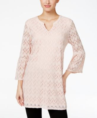 Style & Co. Split-Neck Lace Tunic, Only at Vogily
