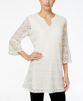 Style & Co. Petite Lace Bell-Sleeve Tunic, Only at Vogily
