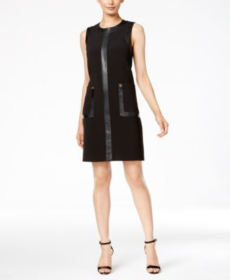 Calvin Klein Faux-Leather-Trim Shift Dress