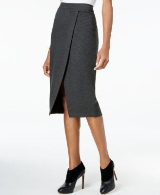 kensie Faux-Wrap Ponte Pencil Skirt