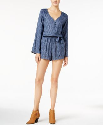 Sanctuary Naomi Printed Long-Sleeve Romper