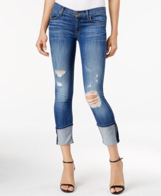 Hudson Jeans Ripped Indigo Wash Cropped Jeans