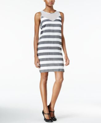 kensie Striped Mesh-Contrast Shift Dress