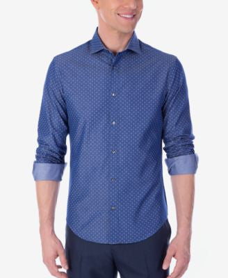 Calvin Klein X Men's Extra-Slim Fit Reversible Chambray Stretch Dress Shirt