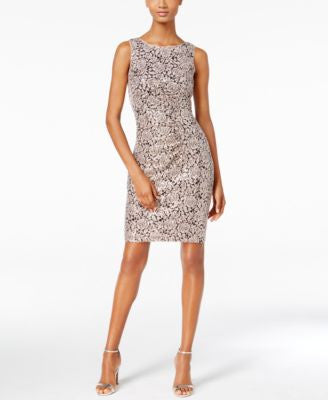Calvin Klein Sequined Rose-Pattern Sheath Dress