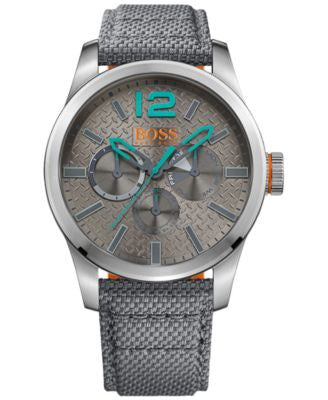 BOSS Orange Men's Chronograph Paris Gray Fabric Strap Watch 47mm 1513379