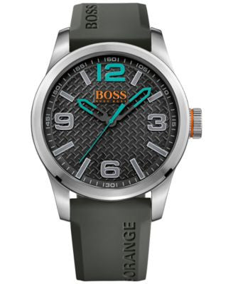 BOSS Orange Men's Paris Gray Rubber Strap Watch 44mm 1513377