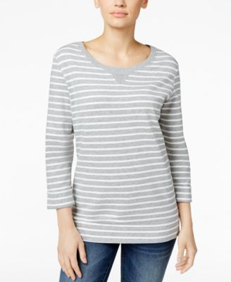 Karen Scott Striped Studded Sweatshirt, Only at Vogily