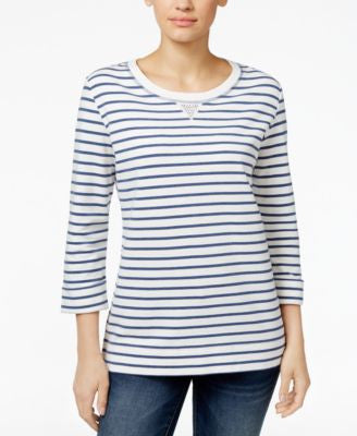 Karen Scott Petite Striped Top, Only at Vogily