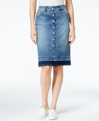 JAG Button-Front Denim Pencil Skirt