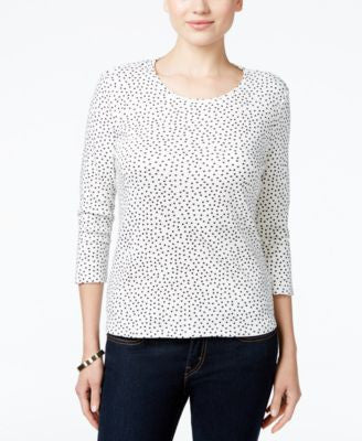 Charter Club Petite Dot-Print Top, Only at Vogily
