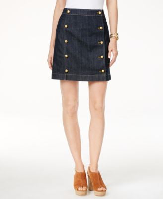 MICHAEL Michael Kors Denim Button-Front Mini Skirt