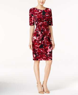 Connected Floral-Print Faux-Wrap Sheath Dress