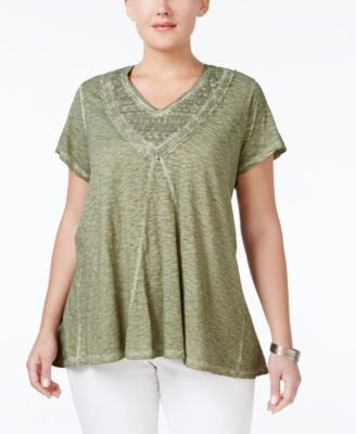 Style & Co. Plus Size Crochet-Trim Burnout V-Neck Top, Only at Vogily