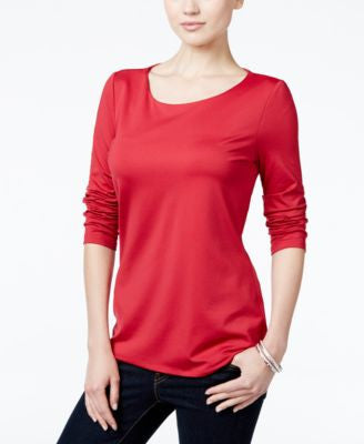 Charter Club Petite Three-Quarter-Sleeve Top, Only at Vogily