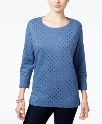 Karen Scott Petite Dot-Print Sweatshirt, Only at Vogily