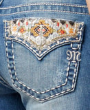 Miss Me Ripped Embroidered Medium Blue Wash Bootcut Jeans