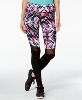 Material Girl Active Printed Mesh-Inset Leggings, Only at Vogily