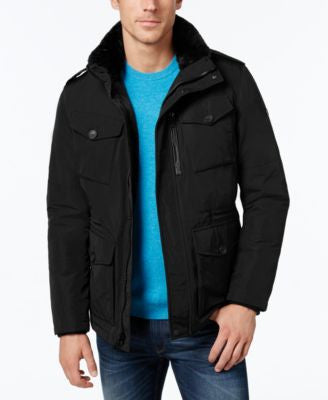 Calvin Klein Men's Jacket with Faux-Fur-Collar