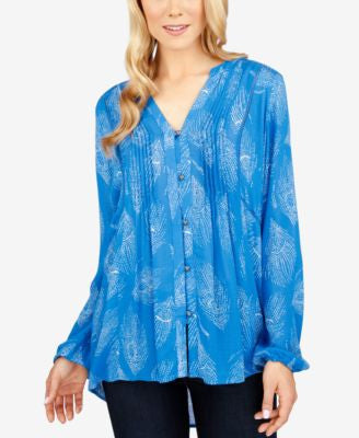 Lucky Brand Printed High-Low Blouse