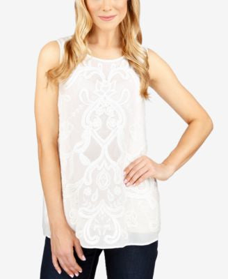 Lucky Brand Embroidered Mesh-Detail Top