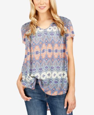 Lucky Brand Printed Tassel-Detail Top